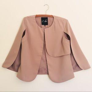Beige Cape Jacket Coat - S
